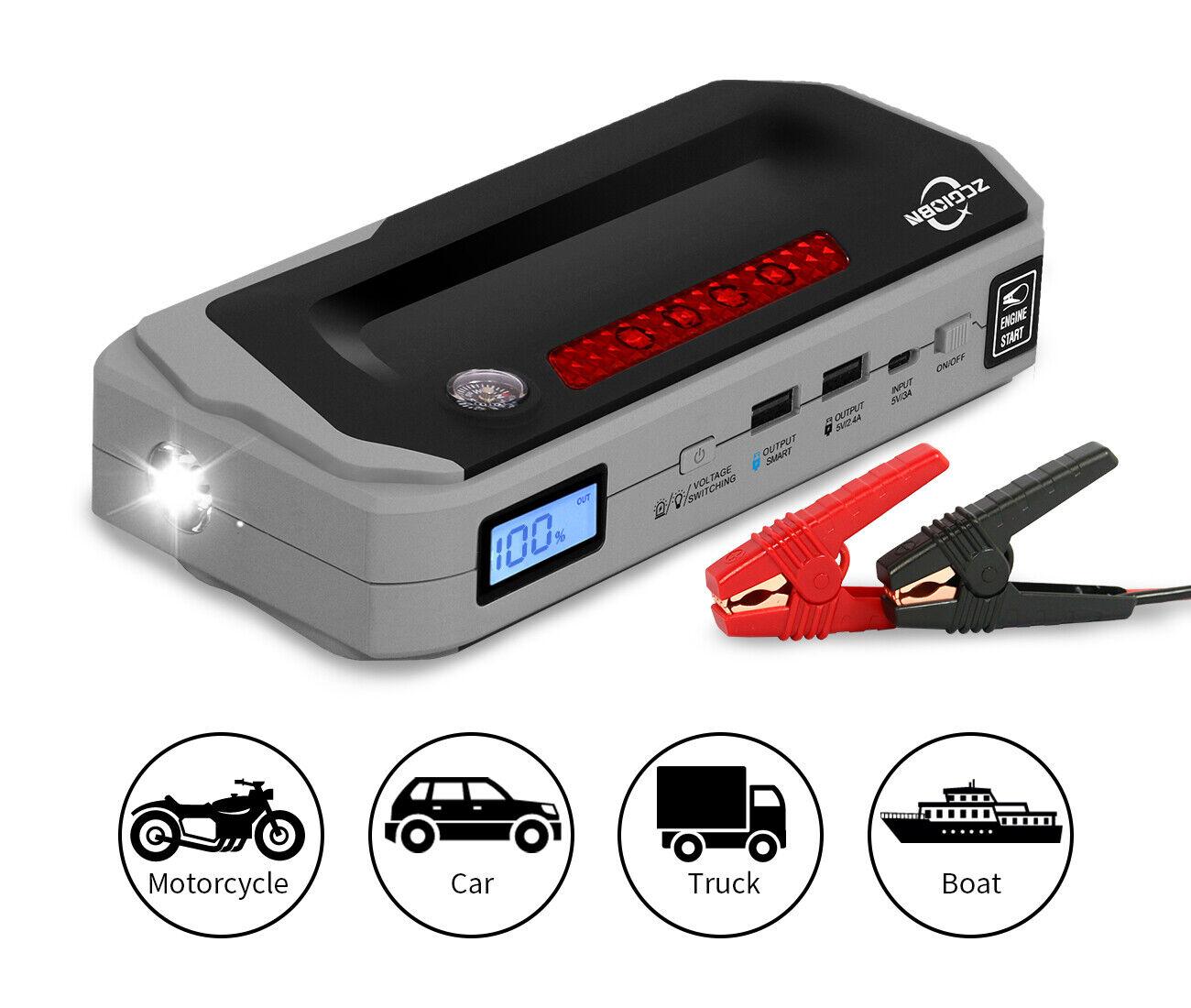 20800mAh Powerful Car Jump Starter (up to 8L Gas/6.0L Diesel) QDSP 2 USB Outputs