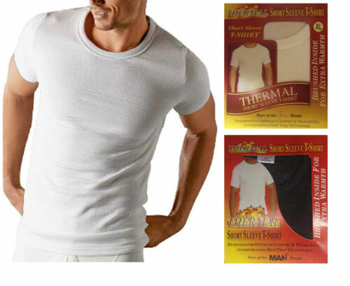 T SHIRT 3 X Da Uomo Bianco Manica Corta trappola di calore termico spazzolato UNDERWEAR CANOTTA