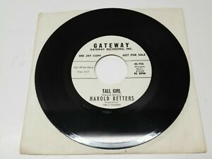 Harold-Betters-45-755-Single-Sided-WHITE-DJ-PROMO-45-Tall-Girls-BELL-SOUND-EX