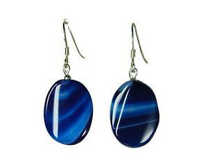 Wundervolle Ohrringe aus blauen Achat-Steinen in gedrehter Ovalform 925er Silber