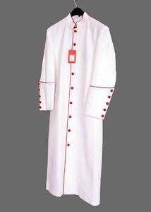 c84aa19621 Men s White Red Clergy Cassock Robe Pastor Preacher Minister Reg ...