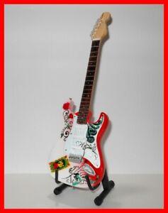 Mini Guitar JIMI HENDRIX Psychedelic Gift Memorabilia FREE STAND