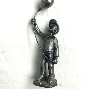 "Vintage 1983 Michael Ricker Pewter Figurines Boy Balloon Bartlett Collectors 5"""