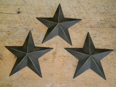 "Set of 6-5 1//2/"" BURGUNDY BLACK BARN STARS Metal Tin  Primitive Country 5.5/"""