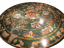 """30"""" Green Marble Coffee Table Top Elephant Natural Inlay Marquetry Decor H3031"""