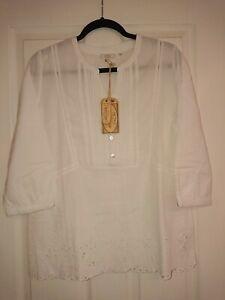 e5874a2e5f0 Fat Face Jolene Popover White Cotton 3/4 Sleeve Broderie Tunic. Size ...