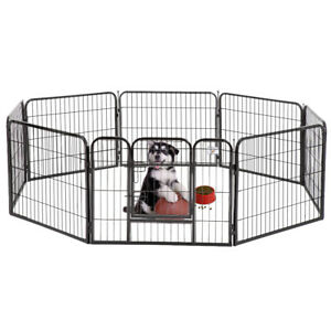 "New BestPet Black 24"" 8 Panel Heavy Duty Pet Playpen Dog Exercise Pen Cat Fence"