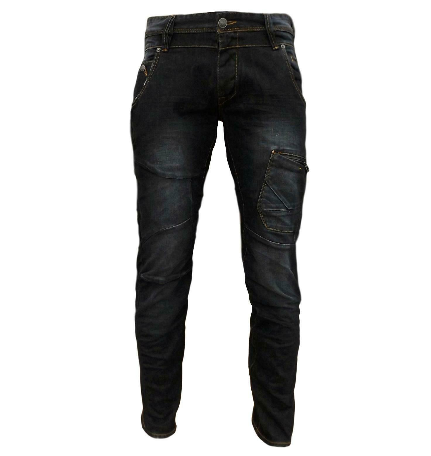 Da Uomo 883 Police Aivali Twisted Bottone Denim Jeans Nero Lavato