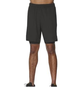Asics Men's 2-In-1 Shorts Race Running 7 Inch Sports Shorts - Black - New