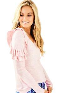 LILLY PULITZER Pink Ruffle Sweater Pima Cotton PERU Knit Top M $128