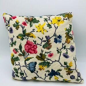 Vintage-Hand-Made-Needlepoint-Pillow-Florals-Flowers-12-5-x-12-5