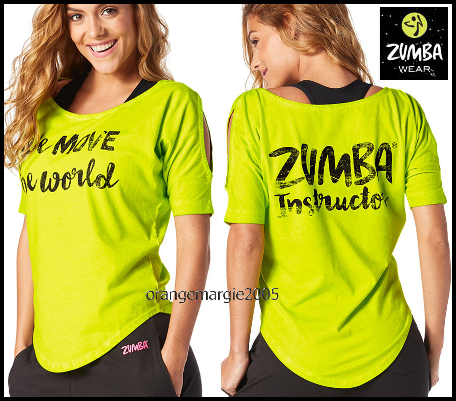ZUMBA INSTRUCTOR Move the World Cold Shoulder Top Tee -fr.Convention Zin  L, XXL