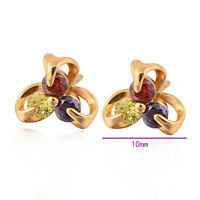 Chic 18K Gold Plated Multicolor crystal Hypoallergenic Solid Lady Stud Earrings