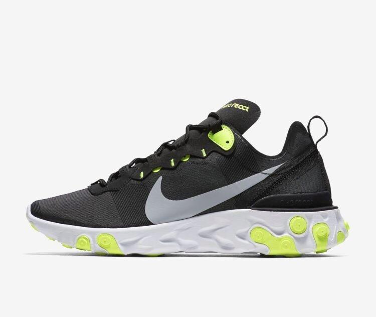 37dc23c384 Nike React Element 55 Black Wolf Grey Volt White Yellow BQ6166 001 Size 8-13