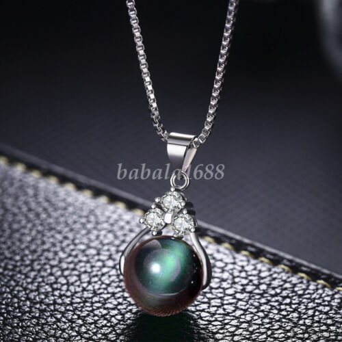 Fashion Woman Natural Quartz Crystal Stone Round Gemstone Bead Pendant Necklace