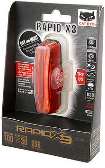 Cateye TL-LD720-R Rapid X3 de 150 Lumens Bicicleta Trasero Luz De La Cola Luz Trasera Rojo
