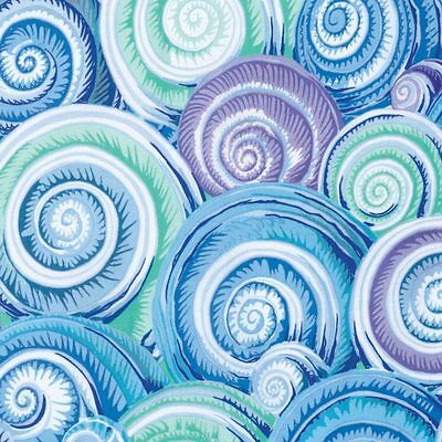 1//2 Yard Kaffe Fassett Curlique BLUE Leaves Cotton Quilting Fabrics