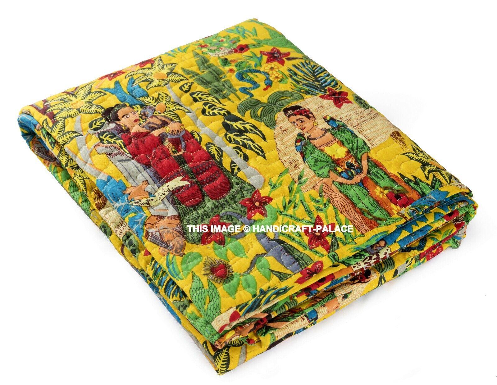 Vintage Frida Kahlo Kantha Tagesdecke Indisch Handmade Wende Steppdecke 178cm