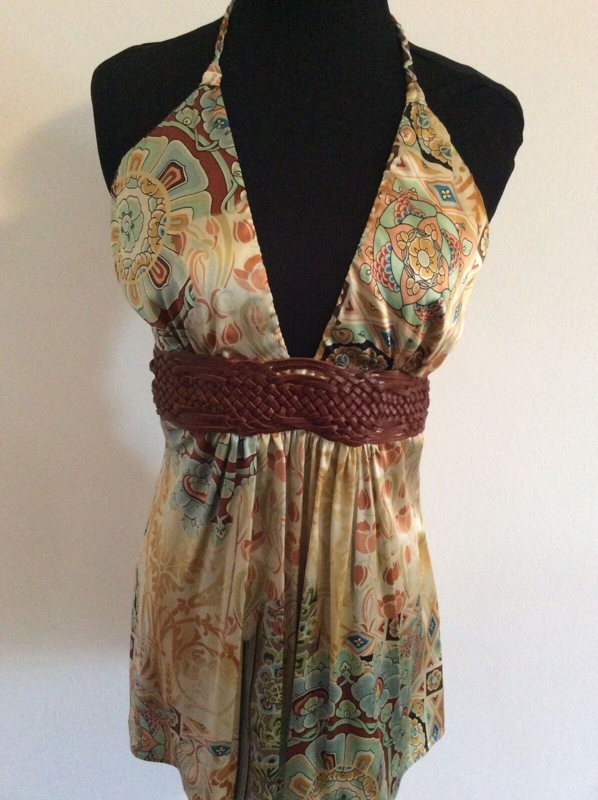 NWT SKY NEW silk halter top leather braid accent L Large ladies elegant