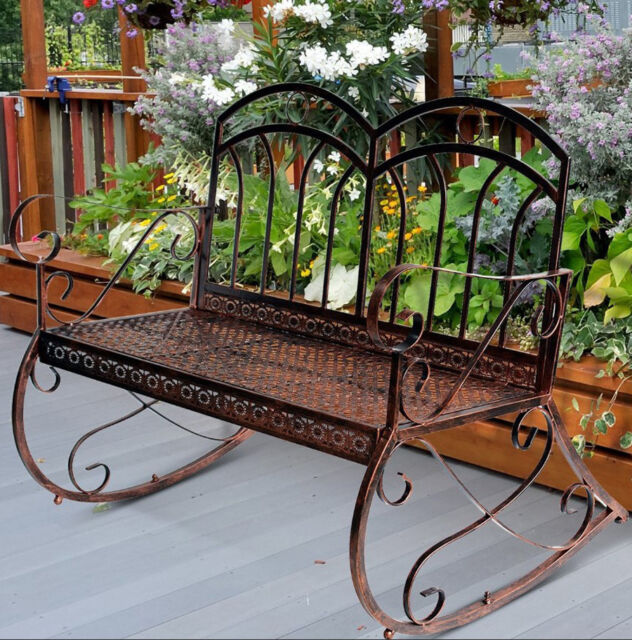 Shabby Chic Garden Bench Vintage Swing Chair Rocking Metal Furniture Patio Seat For Online Ebay