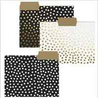 Set Of 9 Gold & Black Dot File Folders. Designer Office Products