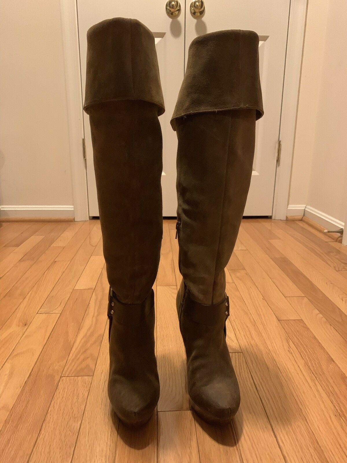 Ladies Jessica Simpson Knee High Leather Boots Size 7.5 Brown
