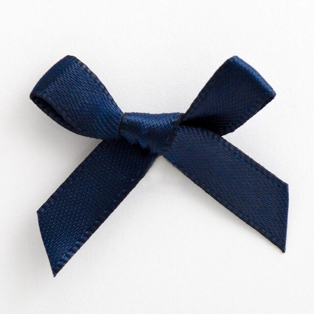 5cm Satin Bows Self Adhesive Navy Blue