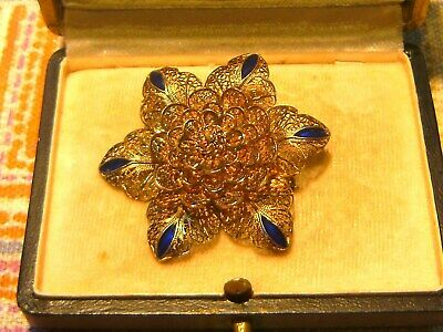 "Antik Historismus Um 1880 Große 835er Gold Silber Emaille Brosche ""mairose"" Rar"