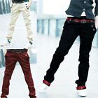 Mens Cargo Long Pants Slim Fit Plaid Cuffed Trendy Straight Trousers Jeans