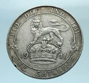 1911-Great-Britain-UK-United-Kingdom-SILVER-SHILLING-Coin-King-George-V-i78163