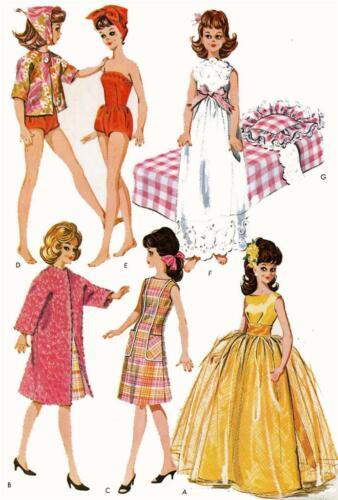 Doll Clothes Pattern 6987 Tammy Misty Suzy Honey West Miss Debutante Jan Terry