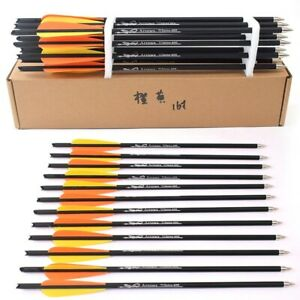 Hunting Archery Bolts 6//12//24pcs Crossbow Carbon Arrow 16//20 Inches Archery Bow