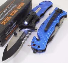 TAC-FORCE Blue Police Dept Rescue LED Light Spring Assisted Opening Pocket Knife