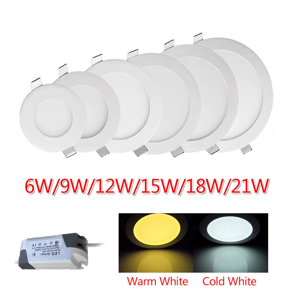 Round Recessed Flat LED Ceiling Panel Light Spot Down Light Lamp Bulb Fixture