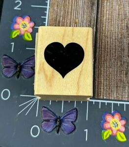 Recollections Heart Solid Shape Rubber Stamp Wood Mount #C13