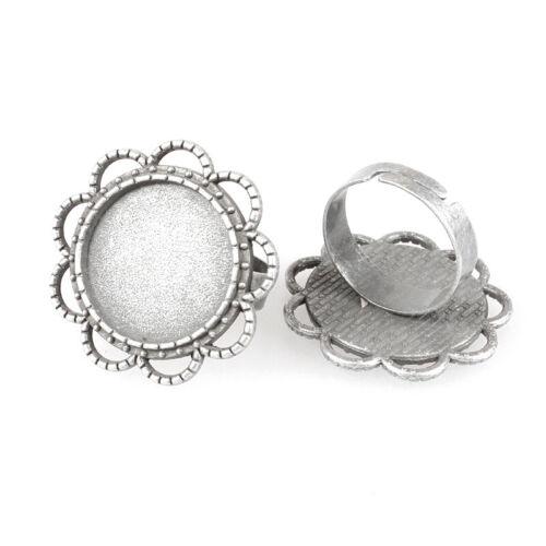 10 Piezas Vintage Antiguo Flor de plata anillo de dedo componente cabujón Bisel ajuste