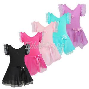US Kid Girls Gymnastics Ballet Dress Child Leotard Tutu Skirt Dance Wear Costume