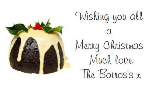 260 ETICHETTE Personalizzate//indirizzo//tradizionale Pudding di Natale Set Adesivi