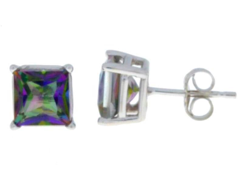 14Kt White gold Mystic Topaz Princess Cut Stud Earrings