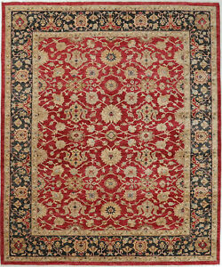 8X10 Hand-Knotted Oushak Carpet Traditional Red Fine Wool Area Rug D56119