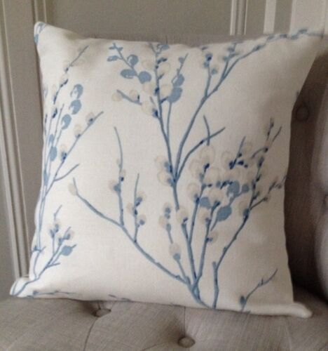 """12x18"""" Cushion Cover in Laura Ashley Pussy Willow Steel Off White//Austen"""