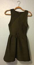 Topshop Womens Sz 6 Textured Pleat Tunic Dress Olive Green Fit Flare Princess