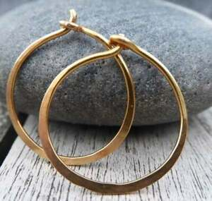 Gold-Hoop-Earrings-3-4-034-20mm-Small-Hoops-Handmade-Hammered