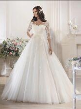 UK 2016 Plus Size White/Ivory Half Sleeve Wedding Dress Bridal Gown Size 6-28
