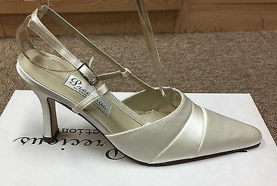 Satén color marfil Bridal Dama Zapato todos los tamaños de Pure & Preciosos Estilo Portia