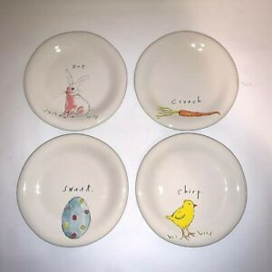 Rae Dunn by Magenta HIP HOP Bunny Egg Shape Appetizer Plates Set of 4