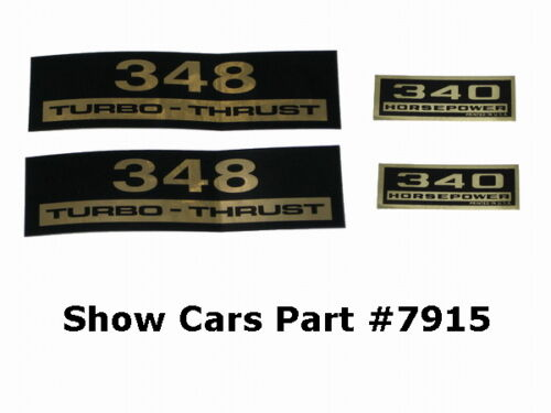 VALVE COVER DECALS KIT 61,60,59,58,CHEVY CHEVROLET IMPALA BELAIR 348 340HP