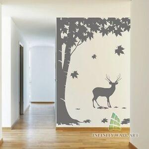 Image is loading Top-Design-Deer-&-Maple-Tree-Wall-Art- & Top Design Deer u0026 Maple Tree Wall Art Stickers Tree Wall Decal ...