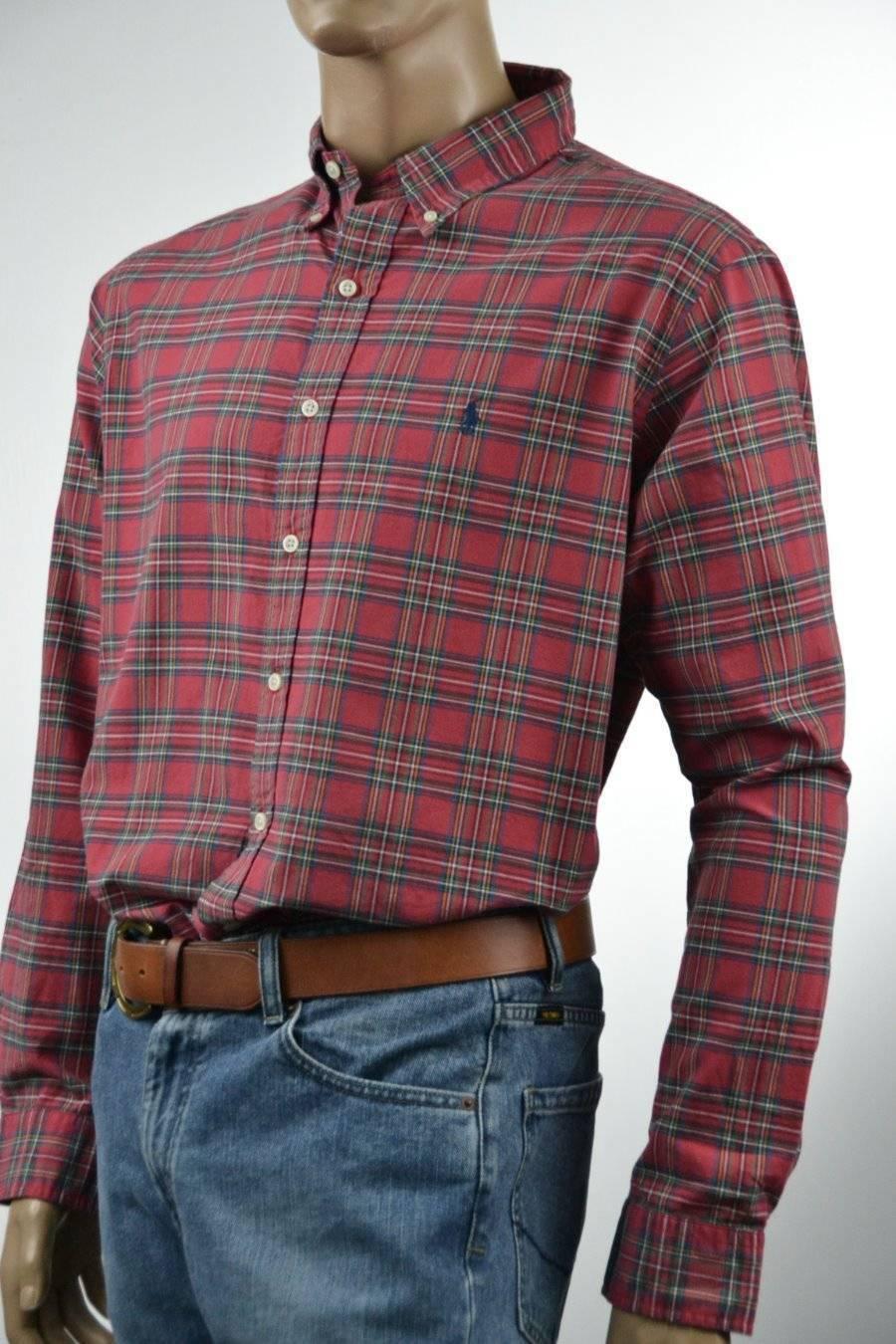 Ralph Lauren Lauren Ralph Classic Fit rosso-verde-giallo-Plaid Long Sleeve Shirt-NWT-XXL 75d61e