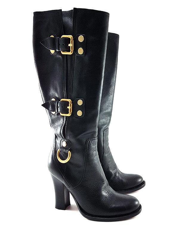 Cesare Paciotti Black Leather High Heels Boots, Women's shoes Size US 6   EU 36
